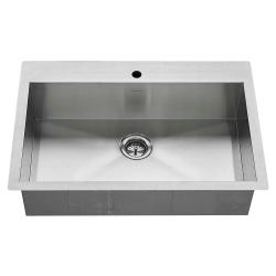 18SB.9332211.075 33X22 EDGEWATER SINGLE BOWL DUAL MOUNT KITCHEN SINK STAINLESS, INCLUDES BOTTOM GRID AND DRAIN