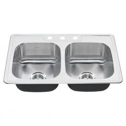 """20DB.8332283S.075 COLONY DOUBLE BOWL 33X22 8"""" DEEP SS KITCHEN"""