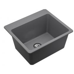 "Quartz Classic 25"" x 22"" x 11-13/16"", Drop-in Laundry Sink with Perfect Drain, Greystone"