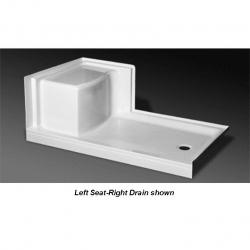 SB-6036L-RS WHT SHOWER BASE RIGHT SEAT LH DRAIN