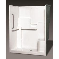 SH-6036LS WHT/BP2-60 GEL SHOWER WITH 3-BAR PACKAGE CENTER DRAIN