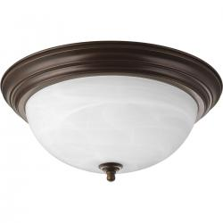 P3926-20 CLOSE TO CEILING 3 LIGHT DOME GLASS ANT BRONZE