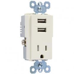 TM8USBLACC USB RECEPTACLE LIGHT ALMOND