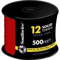 WIRE 12 THHN SOLID RED 500FT REEL
