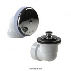 TUB WASTE KIT PVC WHITE PUSH PULL
