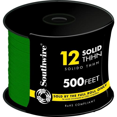 WIRE 12 THHN SOLID GREEN 500FT REEL
