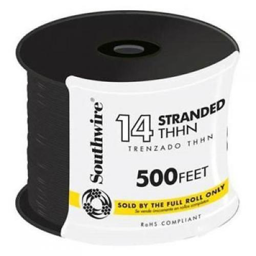 WIRE 14 THHN STRANDED BLACK 500FT REEL
